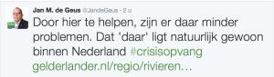 Twitterbericht van Jan de Geus